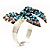 Silver-Tone Crystal Bow Ring (Teal, Sky Blue & Clear) - view 5