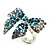 Silver-Tone Crystal Bow Ring (Teal, Sky Blue & Clear) - view 6