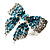 Silver-Tone Crystal Bow Ring (Teal, Sky Blue & Clear) - view 7