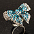 Silver-Tone Crystal Bow Ring (Teal, Sky Blue & Clear) - view 2
