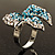 Silver-Tone Crystal Bow Ring (Teal, Sky Blue & Clear) - view 8
