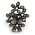 Black Crystal Floral Stretch Ring - view 6