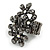 Black Crystal Floral Stretch Ring
