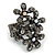 Black Crystal Floral Stretch Ring - view 13