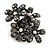 Black Crystal Floral Stretch Ring - view 14