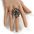 Black Crystal Floral Stretch Ring - view 2