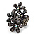 Black Crystal Floral Stretch Ring - view 9