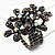 Black Crystal Floral Stretch Ring - view 10