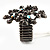 Black Crystal Floral Stretch Ring - view 5