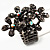 Black Crystal Floral Stretch Ring - view 11