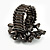 Black Crystal Floral Stretch Ring - view 4