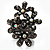 Black Crystal Floral Stretch Ring - view 12