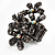 Black Crystal Floral Stretch Ring - view 7