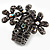 Black Crystal Floral Stretch Ring - view 3