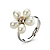 Tiny White Freshwater Pearl Flower Ring (Silver Tone) - view 9