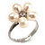 Tiny White Freshwater Pearl Flower Ring (Silver Tone) - view 2
