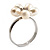 Tiny White Freshwater Pearl Flower Ring (Silver Tone) - view 7