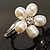 Tiny White Freshwater Pearl Flower Ring (Silver Tone) - view 3