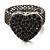 Black Swarovski Crystal Mesh Heart Ring (Gun Metal)
