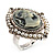 Vintage Filigree Simulated Pearl Cameo Ring (Silver Tone) - view 3