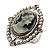 Vintage Filigree Simulated Pearl Cameo Ring (Silver Tone) - view 5