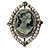 Vintage Filigree Simulated Pearl Cameo Ring (Silver Tone) - view 2