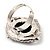 Vintage Filigree Simulated Pearl Cameo Ring (Silver Tone) - view 7