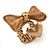 Vintage Mesh Bow & Heart Charm Stretch Ring (Matte Gold Tone) - view 3