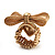 Vintage Mesh Bow & Heart Charm Stretch Ring (Matte Gold Tone) - view 6