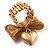Vintage Mesh Bow & Heart Charm Stretch Ring (Matte Gold Tone) - view 2