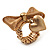Vintage Mesh Bow & Heart Charm Stretch Ring (Matte Gold Tone) - view 7