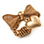Vintage Mesh Bow & Heart Charm Stretch Ring (Matte Gold Tone) - view 8
