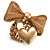 Vintage Mesh Bow & Heart Charm Stretch Ring (Matte Gold Tone)
