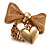 Vintage Mesh Bow & Heart Charm Stretch Ring (Matte Gold Tone) - view 4
