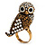 Stunning Vintage Simulated Pearl & Crystal Owl Ring (Antique Gold Tone) - view 7