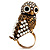 Stunning Vintage Simulated Pearl & Crystal Owl Ring (Antique Gold Tone) - view 8