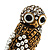 Stunning Vintage Simulated Pearl & Crystal Owl Ring (Antique Gold Tone) - view 2