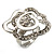 Open Crystal White Enamel 'Rosebud' Ring (Rhodium Plated Finish)