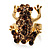 Amber Coloured Crystal Little Froggy Ring (Gold Tone)