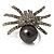 Swarovski Crystal Simulated Pearl Spider Ring (Silver Tone)