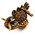 Charming Diamante Antique Gold Owl Stretch Ring - view 8