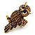 Charming Diamante Antique Gold Owl Stretch Ring - view 9