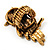 Charming Diamante Antique Gold Owl Stretch Ring - view 6