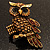 Charming Diamante Antique Gold Owl Stretch Ring - view 2