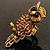 Charming Diamante Antique Gold Owl Stretch Ring - view 3