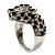Diamante 'Leopard' Rhodium Plated Ring - view 8