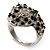 Diamante 'Leopard' Rhodium Plated Ring - view 7