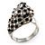 Diamante 'Leopard' Rhodium Plated Ring - view 9