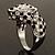 Diamante 'Leopard' Rhodium Plated Ring - view 3