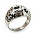 Dome Shaped Crystal Flower Ring (Silver Tone) - view 7